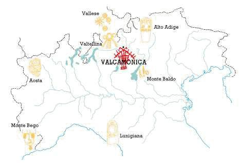 Map of main rock art sites in Northern Italy