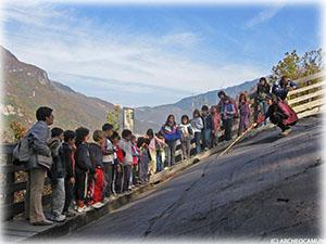 Schools visiting the Naquane National Rock Art Park, Capo di Ponte (Valcamonica)
